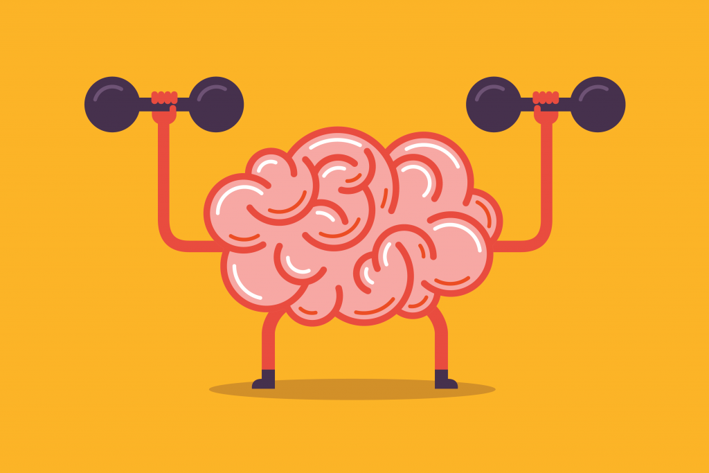 Trading Group 101 | Trading Tips and Techniques | Brain and dumbell cartoon image